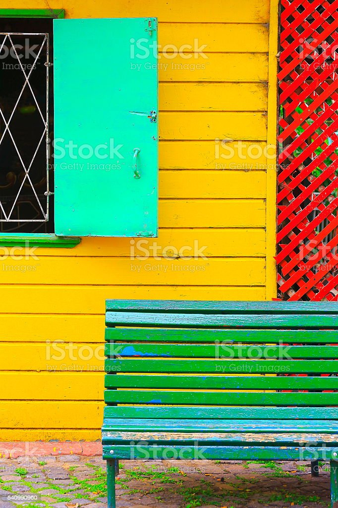 Colorful and abandoned public old wall, Buenos Aires, Argentina stock photo
