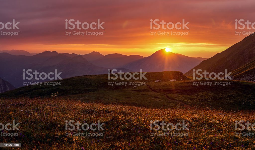 Colorful and dramatic sunset in the European Alps in Summer stock photo