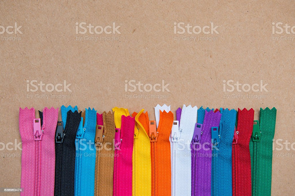 colorful and many zipper for tailoring stock photo
