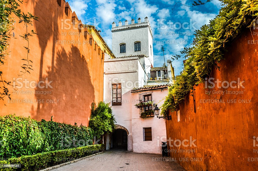 Colorful and narrow medieval street in Seville, Spain stock photo