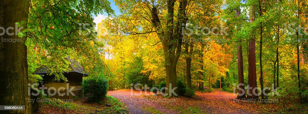 Colorful and tranquil autumn scenery stock photo
