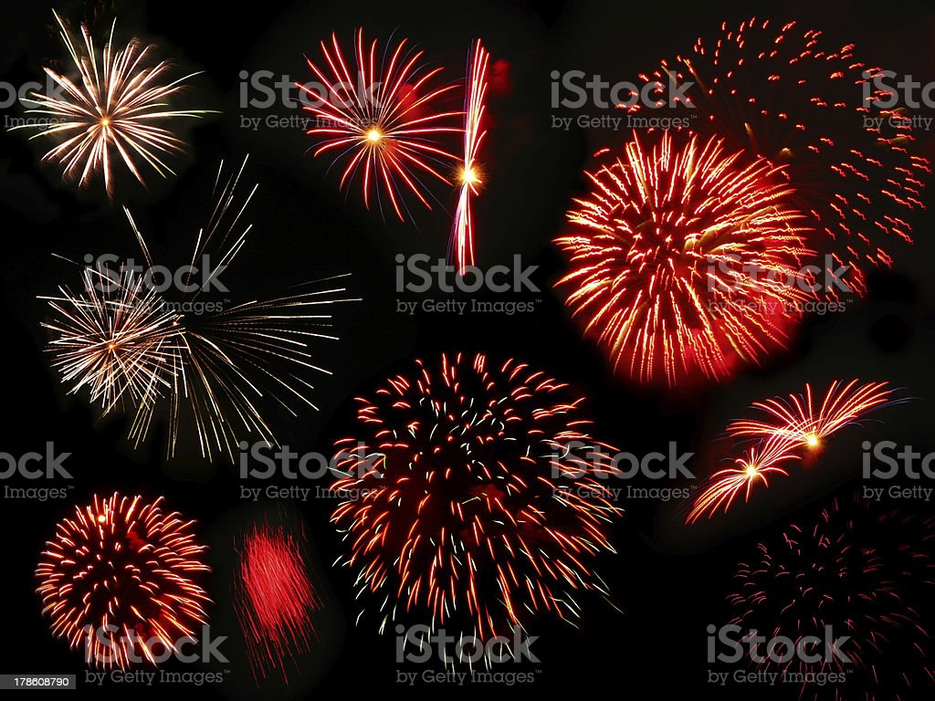 Colorful and vibrant fireworks royalty-free stock photo