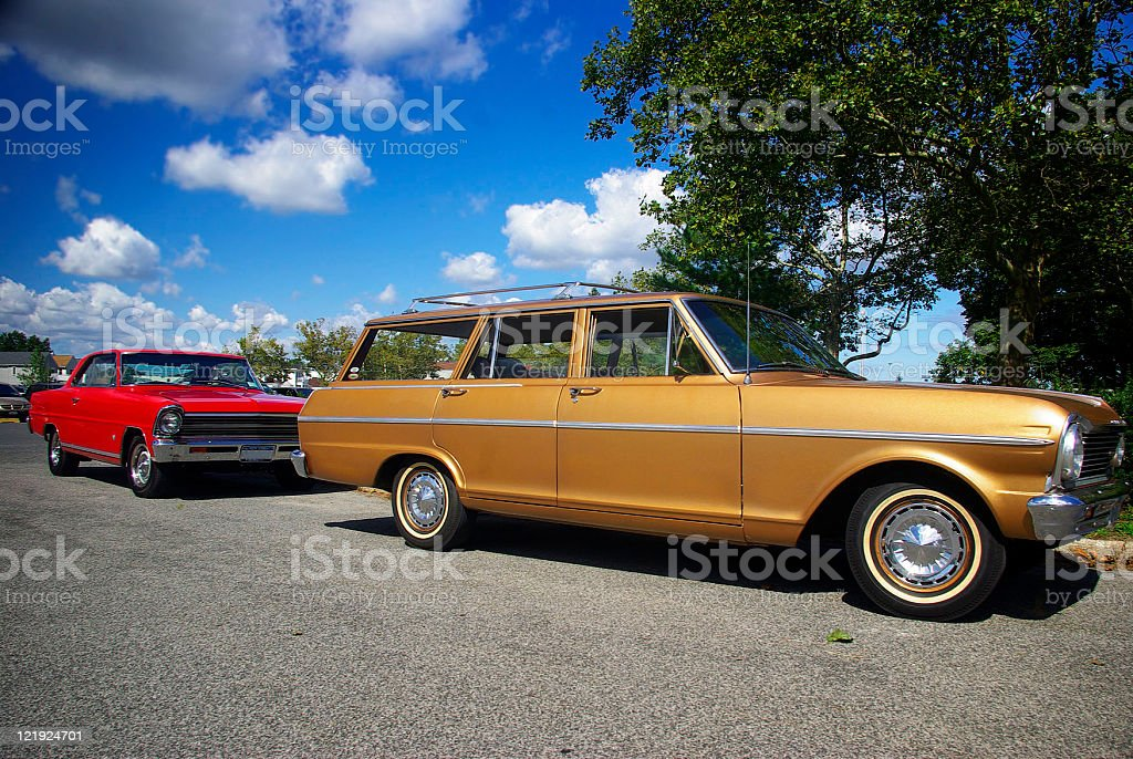 colorful antique classic cars outdoors royalty-free stock photo
