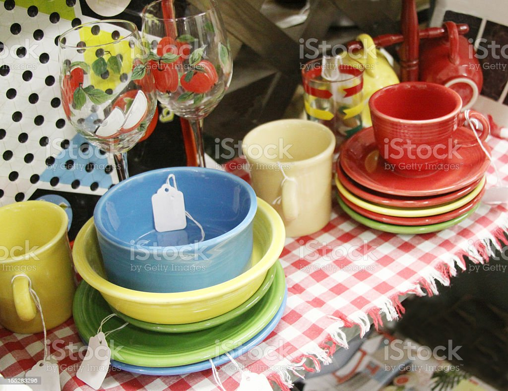 Colorful Antique Dishes stock photo