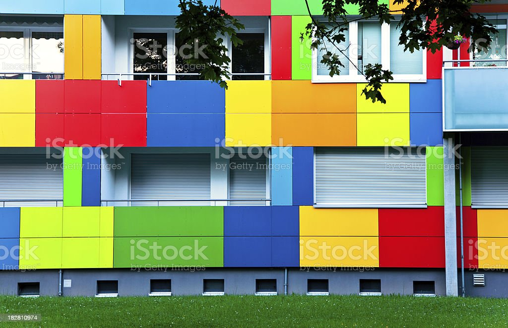 colorful appartment building stock photo