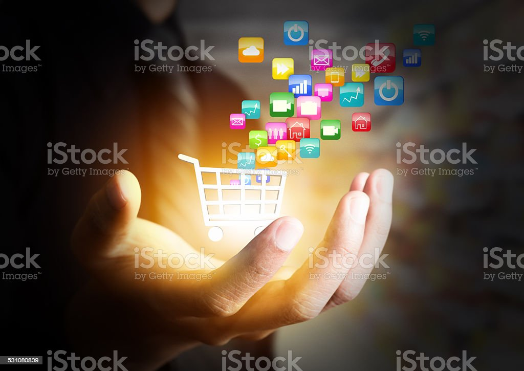 Colorful application icon concept and the shopping cart stock photo