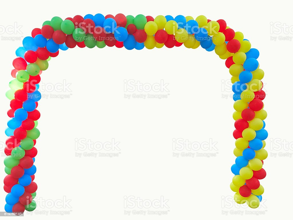 Colorful arch of red blue yellow green balloons isolated stock photo