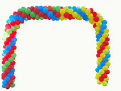 Colorful arch of red blue yellow green balloons isolated