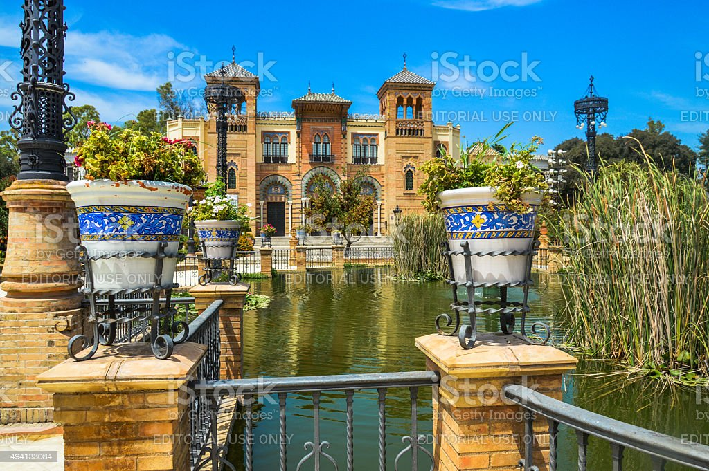 Colorful architecture and decor in Seville, Spain stock photo