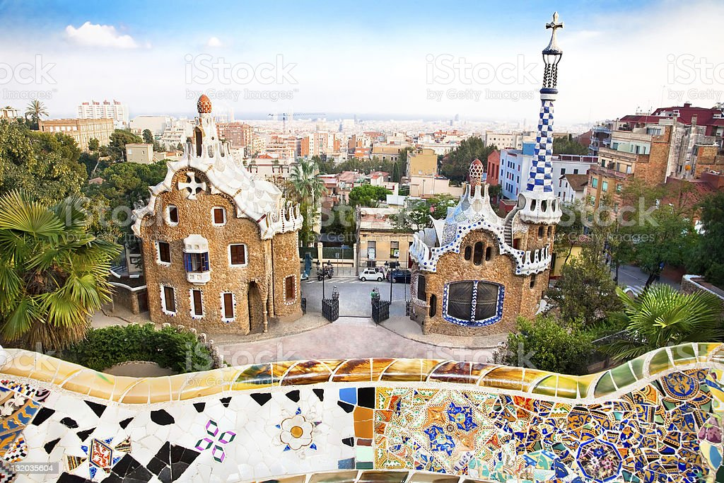 Colorful architecture by Antonio Gaudi in park Guell stock photo