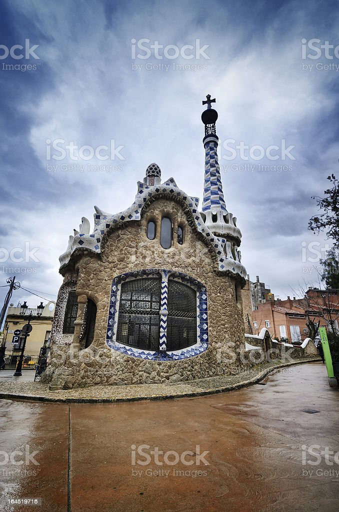Colorful architecture by Antonio Gaudi. Parc Guell, Barcelona. Spain royalty-free stock photo