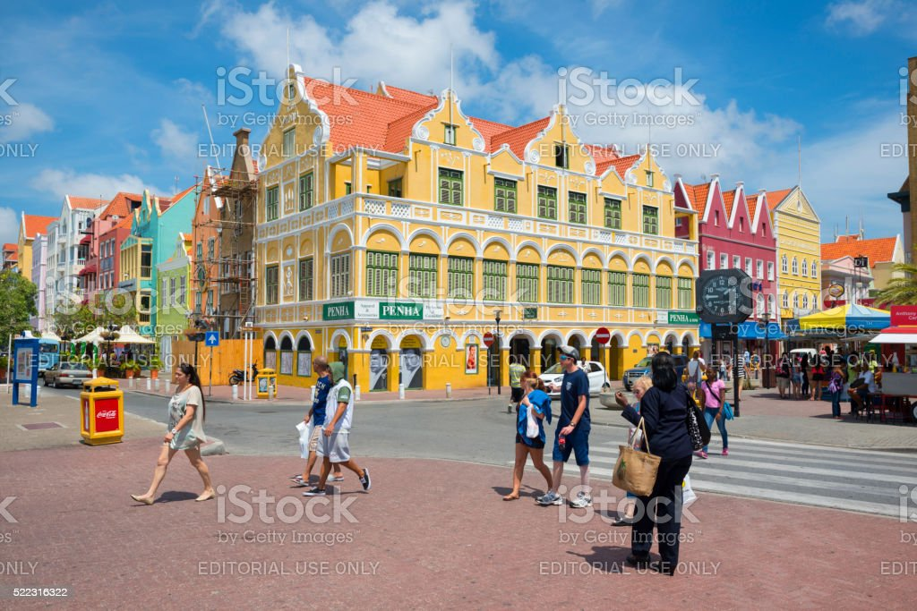 Colorful architecture in Willemstad, Curacao stock photo