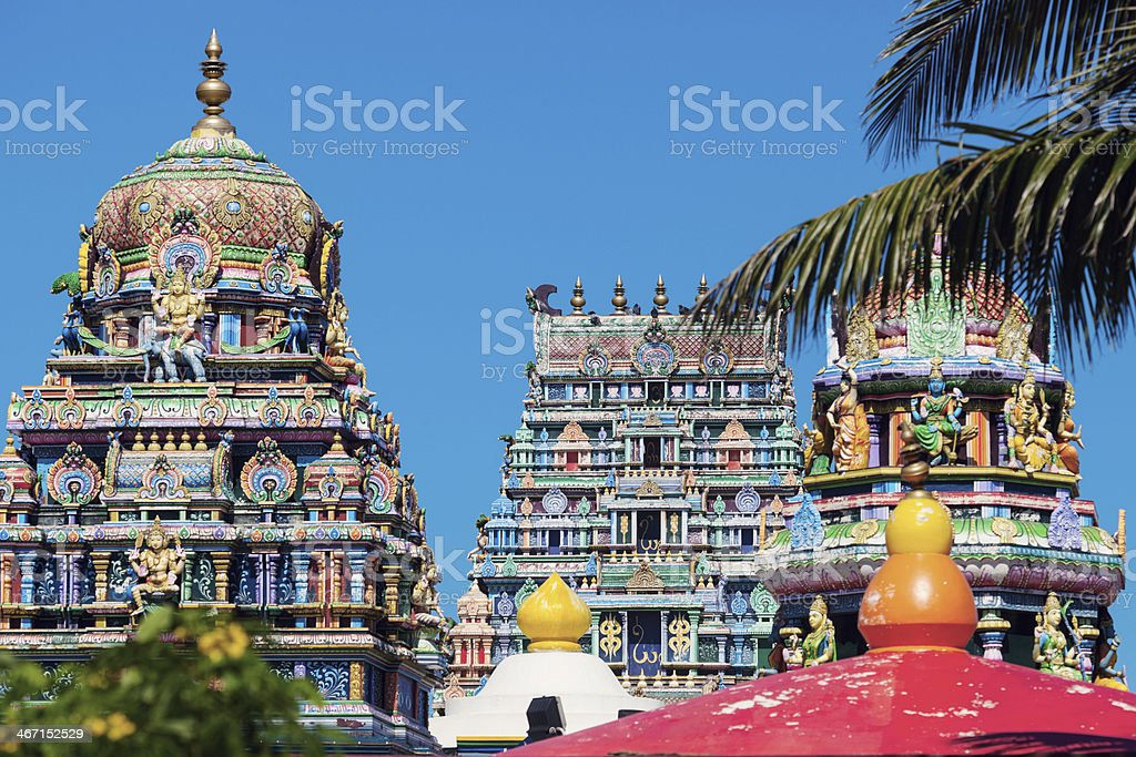 Colorful architecture of Hindu temple in Nadi stock photo