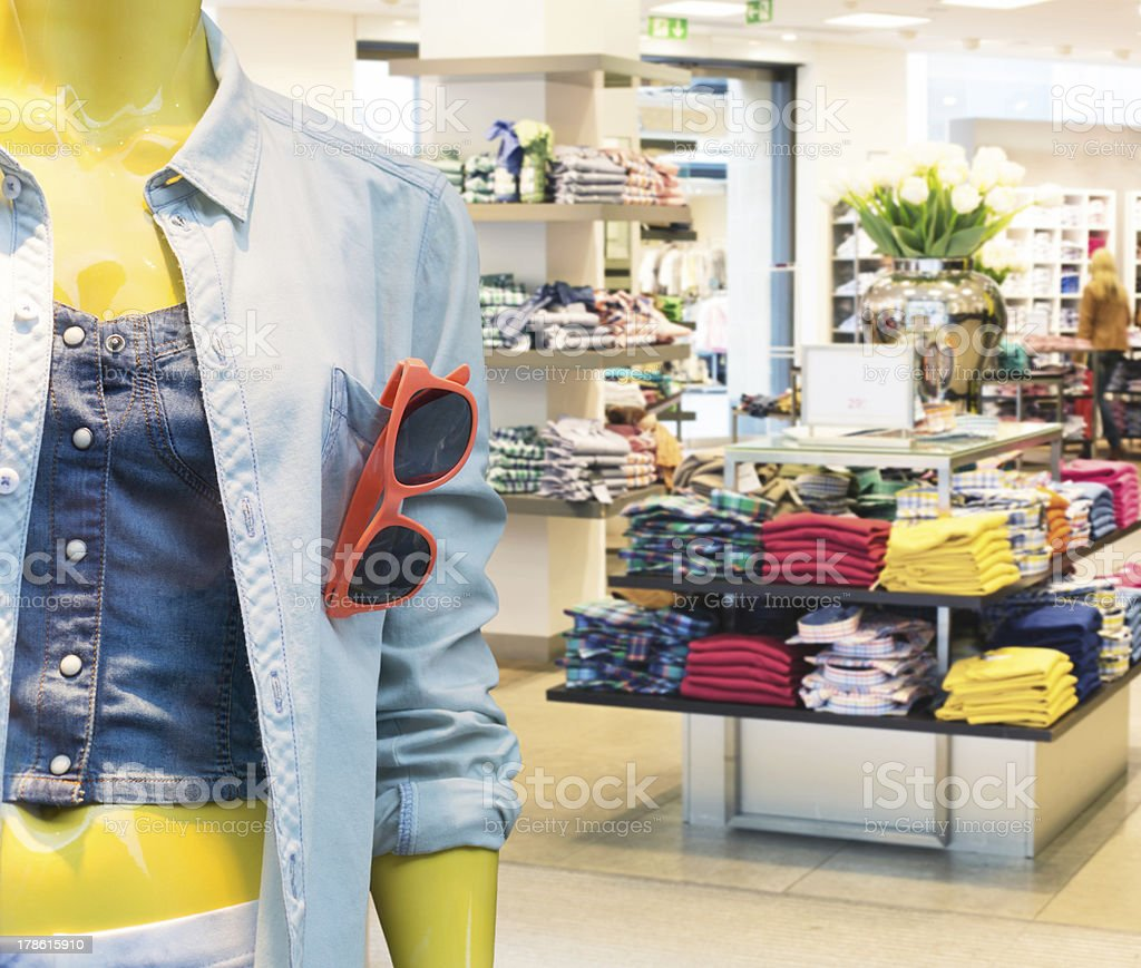 Colorful arrangement at a casual clothing store stock photo