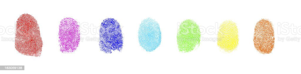 Colorful Art Paint Isolated Fingerprint On White Background stock photo
