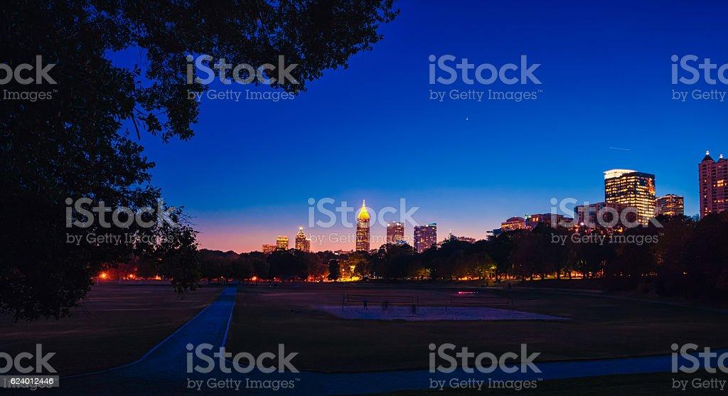 colorful Atlanta skyline from the park stock photo