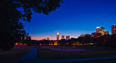 colorful Atlanta skyline from the park