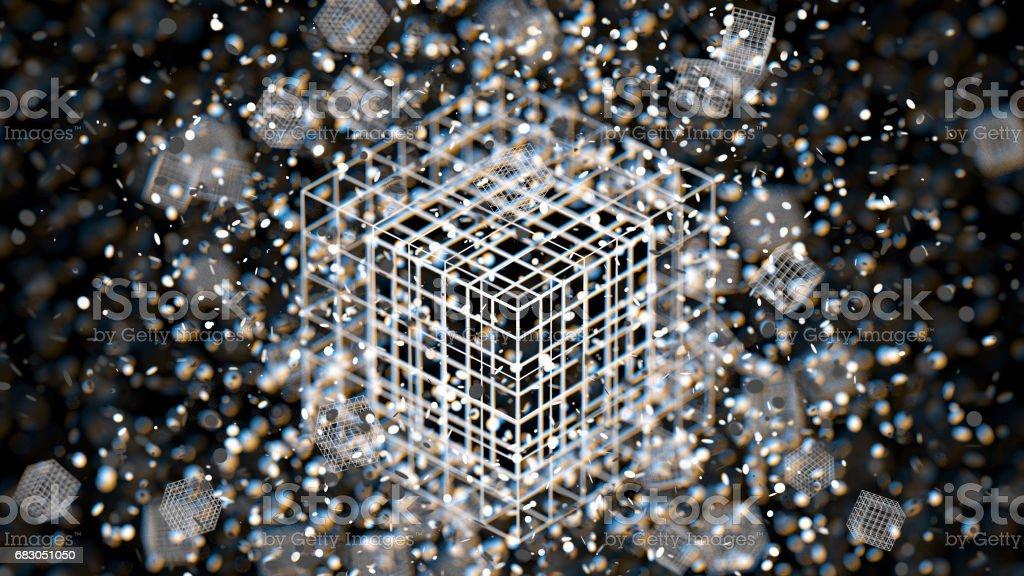 Colorful atom grid cube blur bokeh defocused on black background stock photo