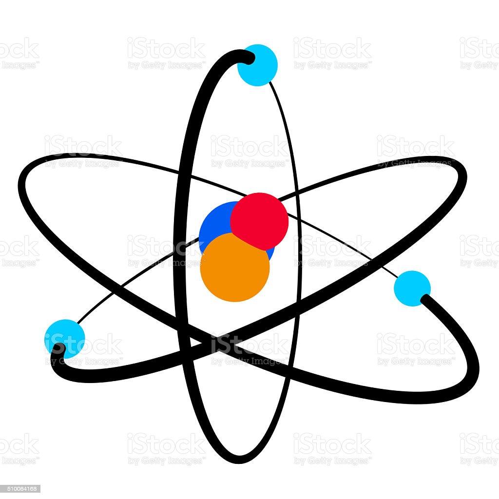 Colorful atom icon isolated. stock photo