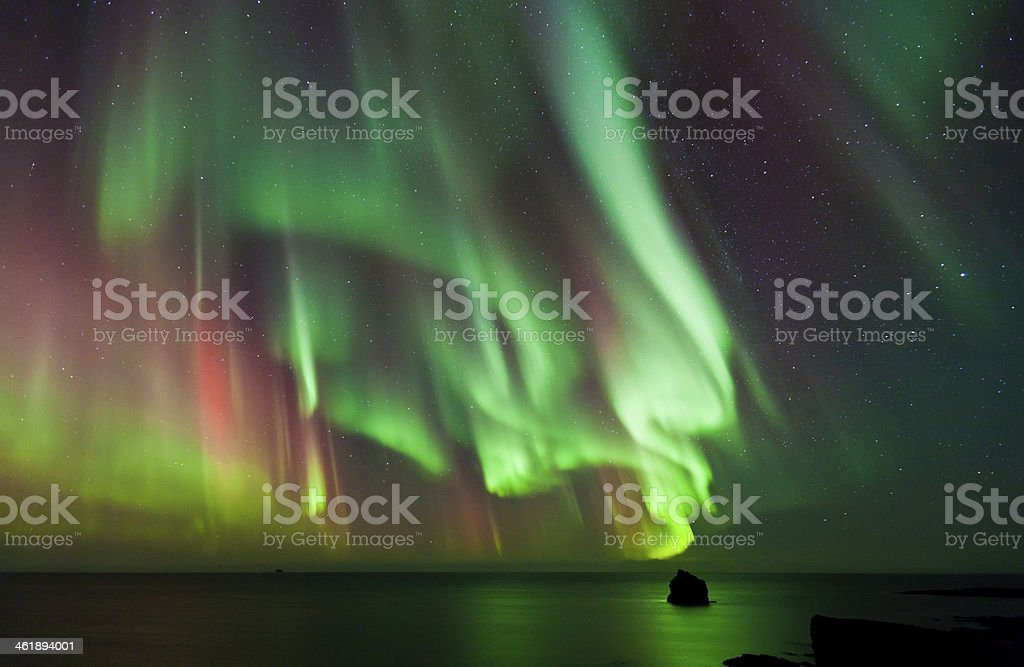 Colorful Aurora Borealis, Iceland stock photo