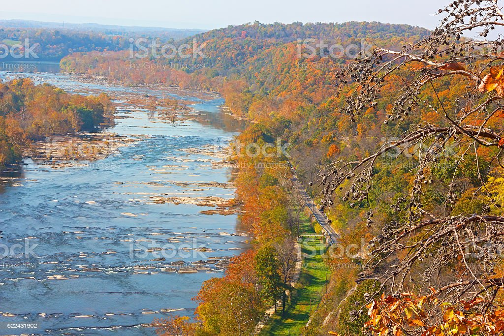 Colorful autumn landscape from a scenic outlook. stock photo