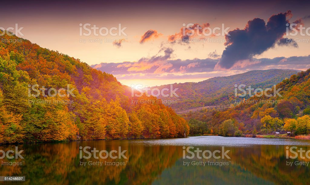 Colorful autumn landscape in the mountain lake stock photo