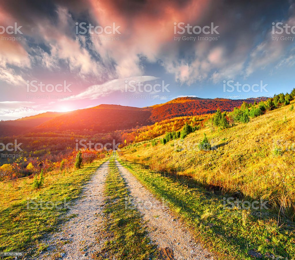 Colorful autumn landscape in the mountains stock photo