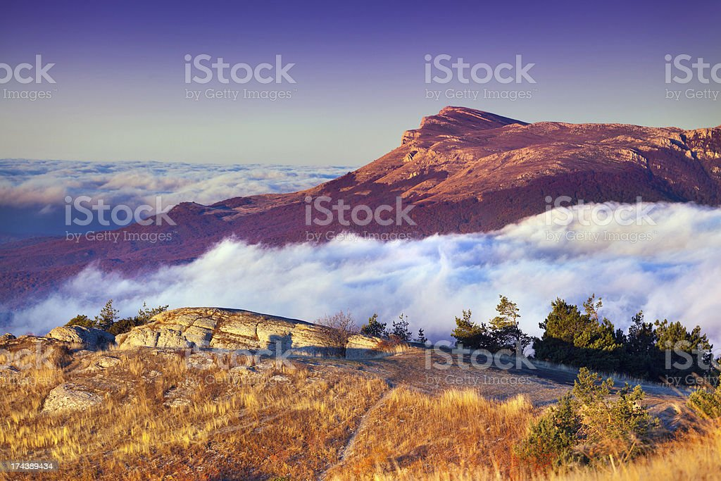 Colorful autumn landscape in the mountains. Sunrise royalty-free stock photo