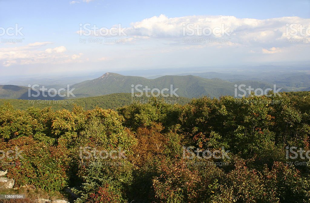 Colorful autumn view at Shenandoah National Park stock photo