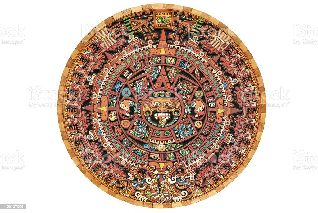 Colorful Aztec solar calendar stock photo