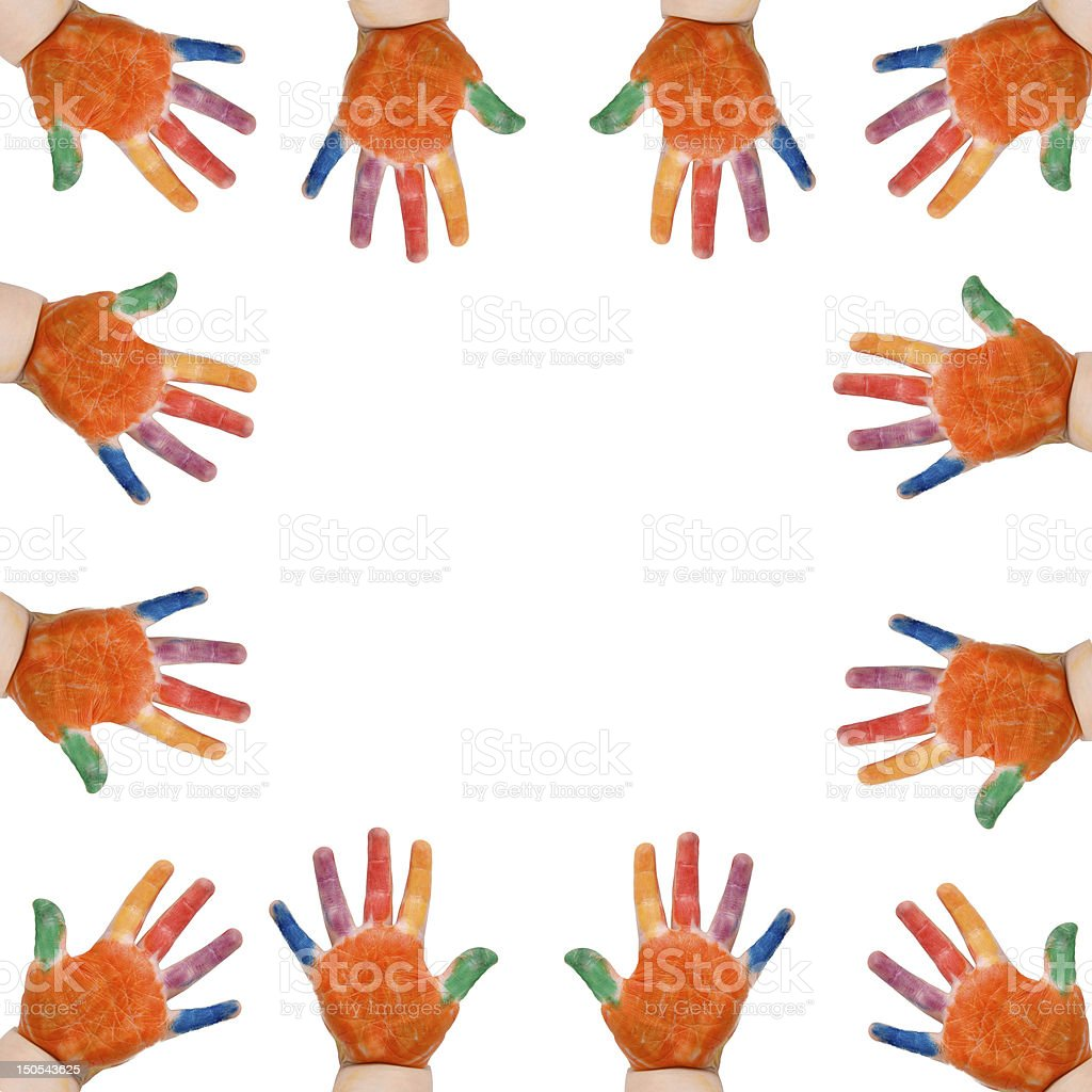 Colorful babies hands formed frame stock photo