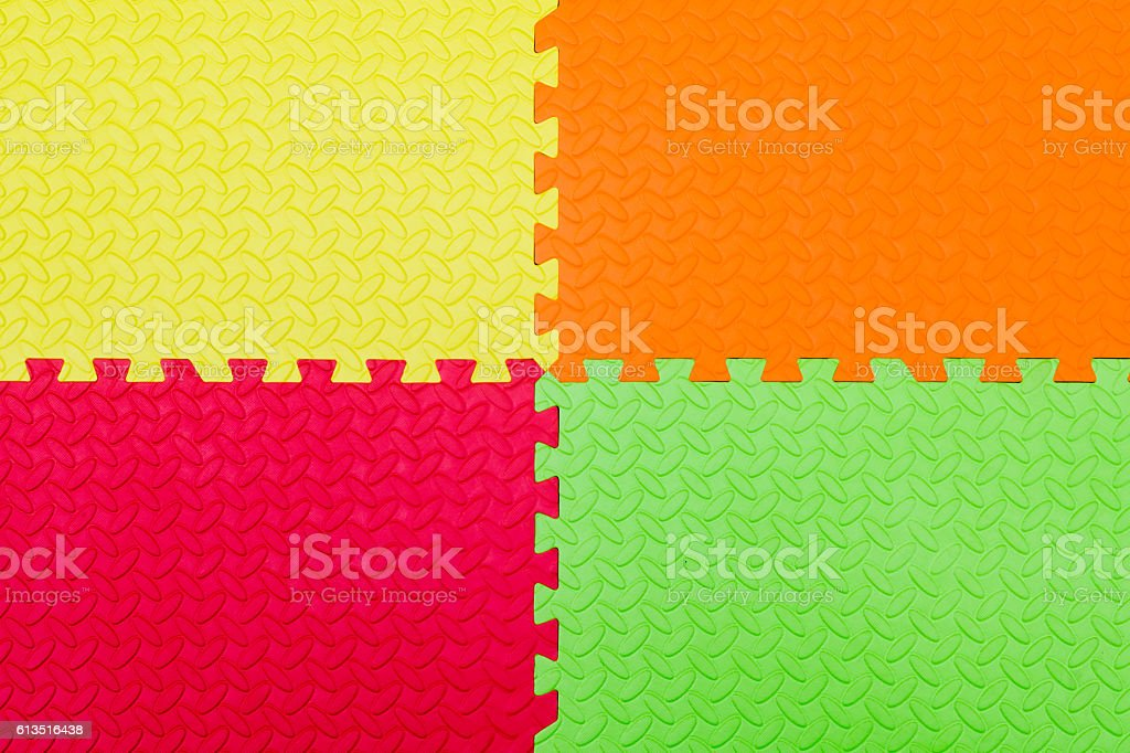 Colorful Baby Mat , rubber foam for childhood background stock photo