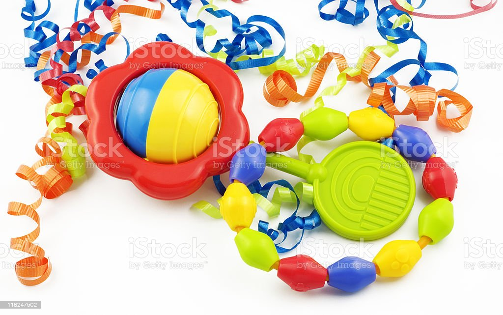 Colorful Baby Rattle and Teething Ring stock photo
