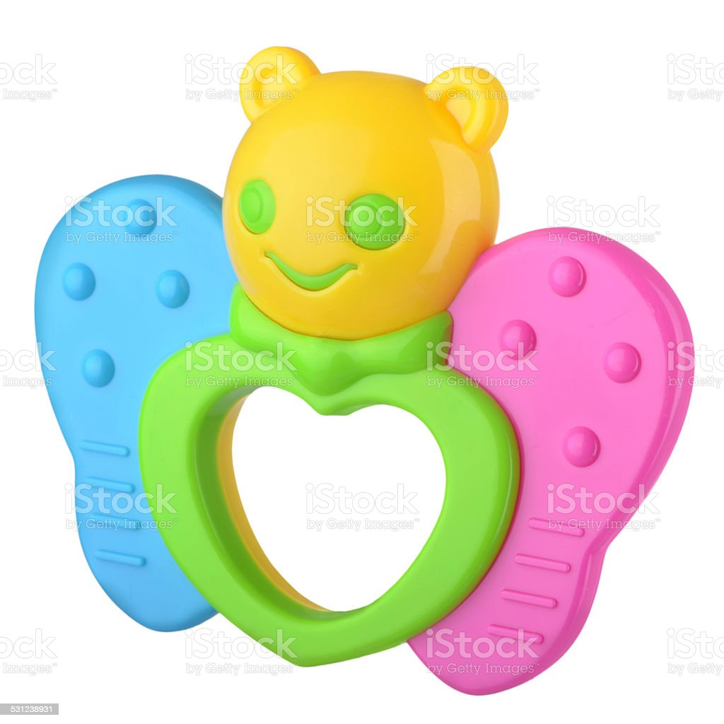 Colorful baby rattle butterfly stock photo