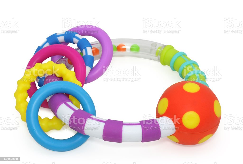 Colorful baby rattle or teething ring stock photo