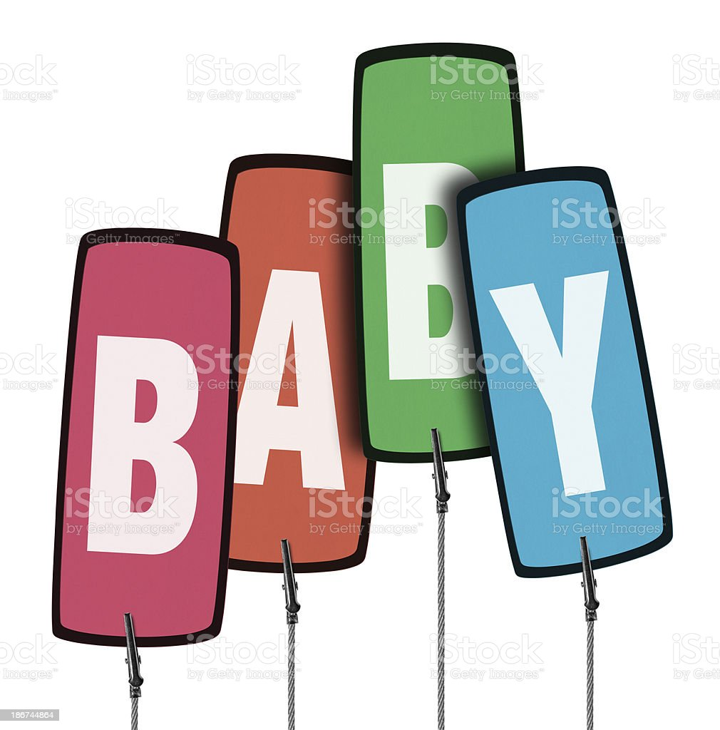 Colorful Baby Tag  in Wire Clamp 4 (Clipping Path) royalty-free stock photo