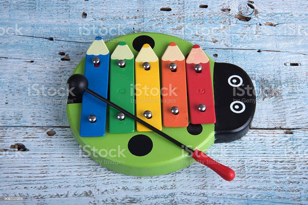 Colorful baby xylophone stock photo