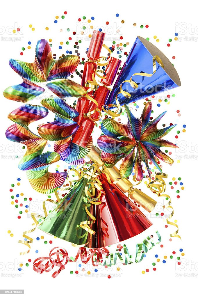 colorful background with garlands, streamer and confetti royalty-free stock photo
