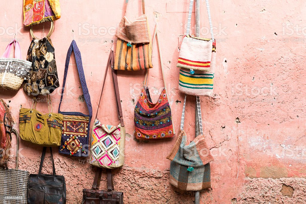 Colorful bags in a market royalty-free stock photo