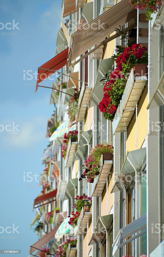 colorful balcony in evening light royalty-free stock photo