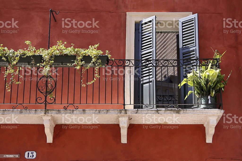 Colorful Balcony in the old town of Verona royalty-free stock photo
