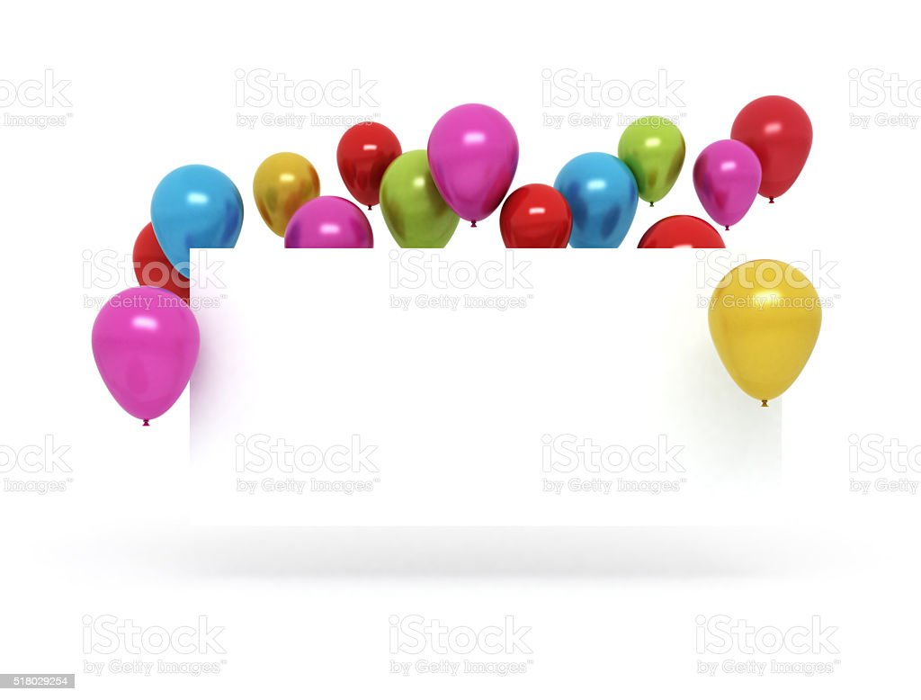 Colorful balloons and blank birthday card stock photo