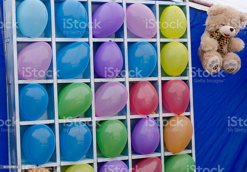 Colorful balloons as targets. stock photo