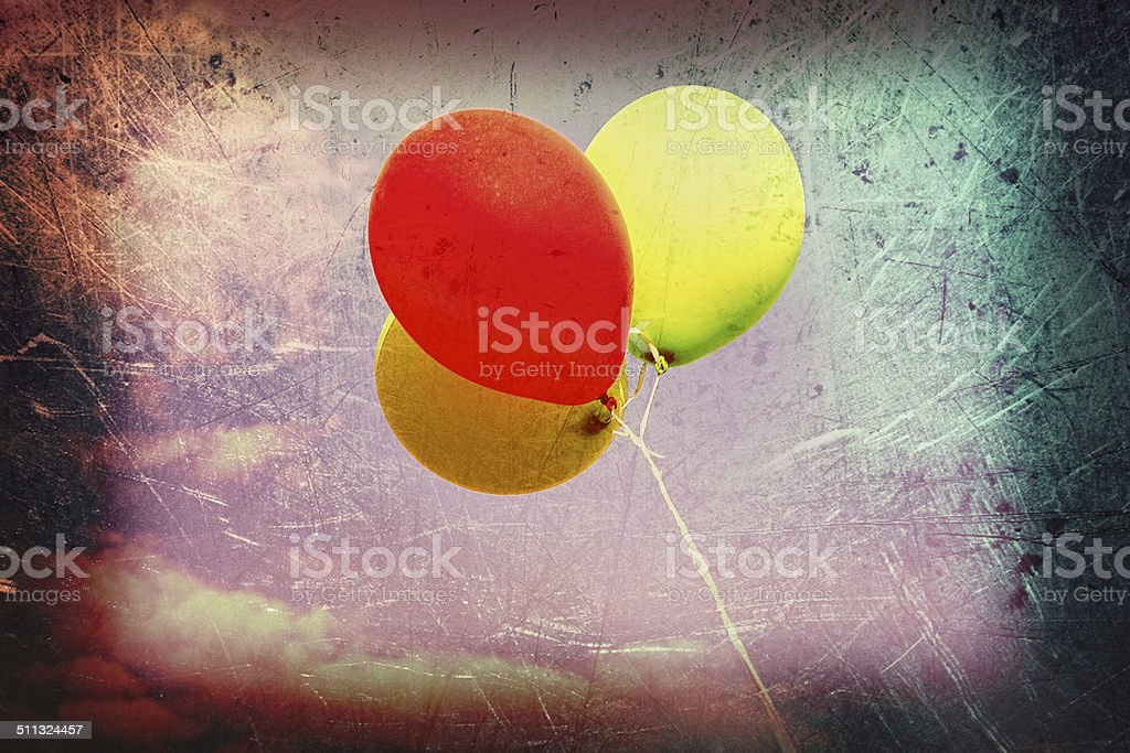 Colorful balloons in a retro style stock photo