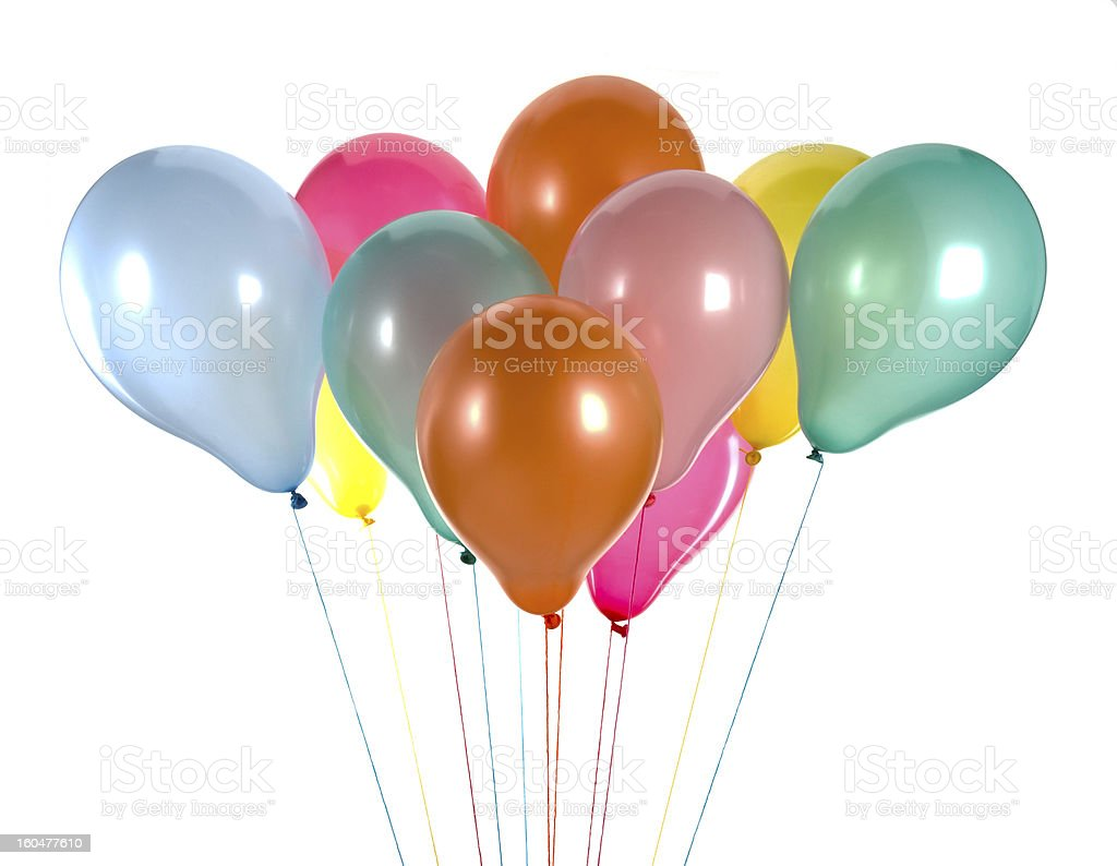 Colorful balloons isolated on white royalty-free stock photo
