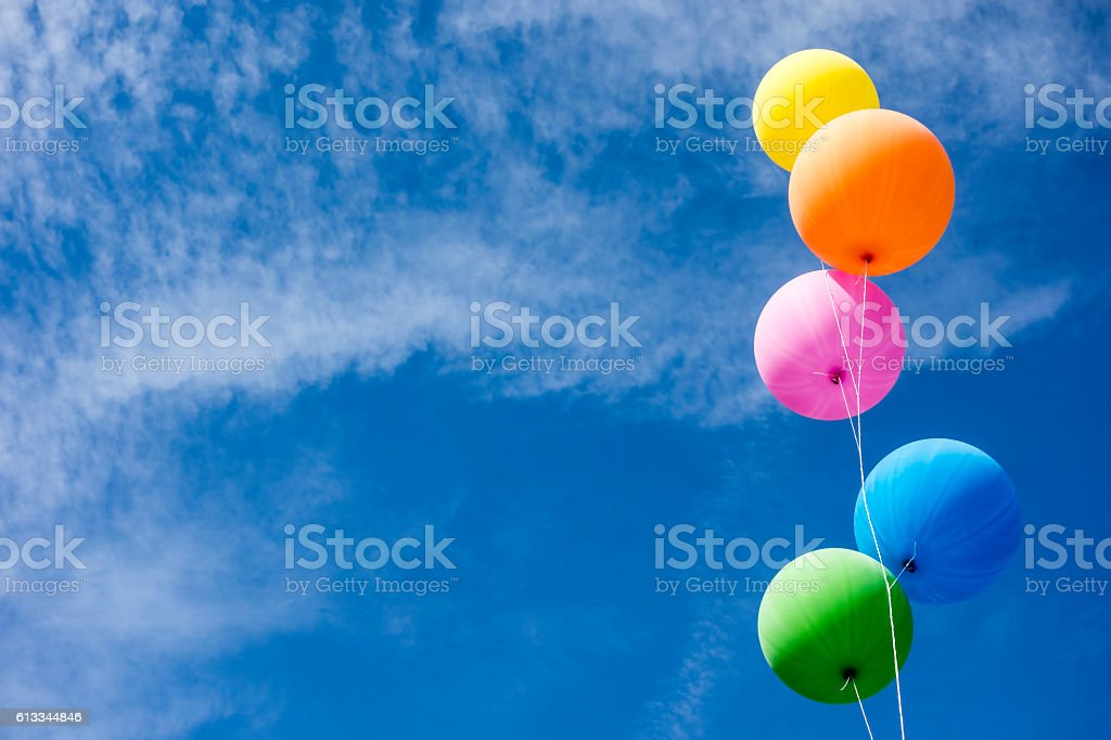 Colorful Balloons Over Sky stock photo