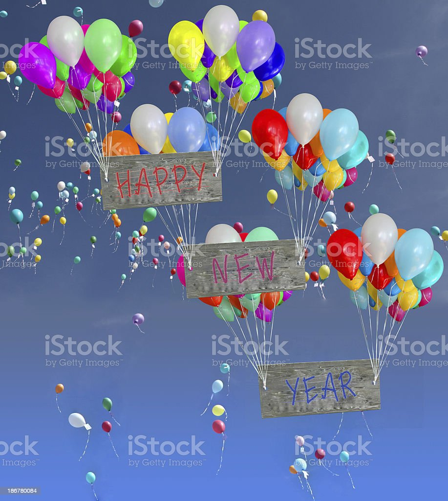 Colorful Balloons with new year sign stock photo