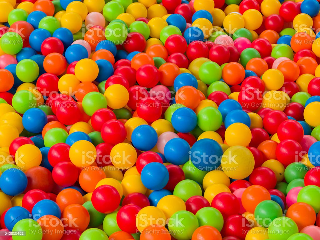 Colorful balls in Playground ball swimming pool for kids stock photo