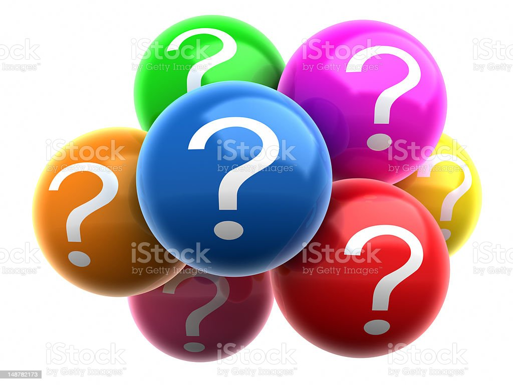 Colorful balls with Question Marks stock photo
