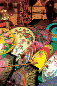 colorful bamboo umbrellas